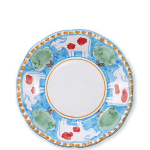 """Vietri Campagna Mucca Salad Plate  MCA-1001 8""""D  Part of Vietri's premiere dinnerware line from the famed Amalfi Coast, Mucca from plumpuddingkitchen.com offers endless possibilities for artistic entertaining when mixed with bright solids or the other colorful patterns of Campagna. Capture the vitality of the Italian countryside with this whimsical collection!  Translation: cow Handmade of terra cotta in Campania by Solimene Part of the Campagna Collection, VIETRI's very first dinnerware collection introduced in 1983! Dishwasher and microwave safe"""
