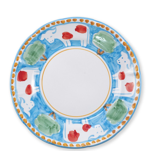 """Vietri Campagna Mucca Dinner Plate  MCA-1000 10""""D  Part of Vietri's premiere dinnerware line from the famed Amalfi Coast, Mucca from plumpuddingkitchen.com offers endless possibilities for artistic entertaining when mixed with bright solids or the other colorful patterns of Campagna. Capture the vitality of the Italian countryside with this whimsical collection!  Translation: cow Handmade of terra cotta in Campania by Solimene Part of the Campagna Collection, VIETRI's very first dinnerware collection introduced in 1983! Dishwasher and microwave safe"""