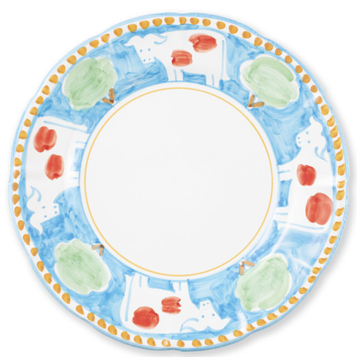"""Vietri Campagna Mucca Service Plate/Charger MCA-1020 12""""D  Part of Vietri's premiere dinnerware line from the famed Amalfi Coast, Mucca from plumpuddingkitchen.com offers endless possibilities for artistic entertaining when mixed with bright solids or the other colorful patterns of Campagna. Capture the vitality of the Italian countryside with this whimsical collection!  Translation: cow Handmade of terra cotta in Campania by Solimene Part of the Campagna Collection, VIETRI's very first dinnerware collection introduced in 1983! Dishwasher and microwave safe"""