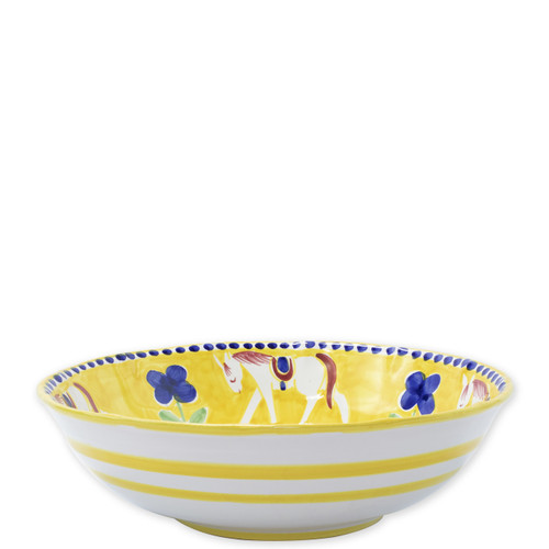 "Vietri Campagna Cavallo Large Serving Bowl  CVA-1025 12""D  Part of Vietri's premiere dinnerware line from the famed Amalfi Coast, Cavallo from plumpuddingkitchen.com offers endless possibilities for artistic entertaining when mixed with bright solids or the other colorful patterns of Campagna. Capture the vitality of the Italian countryside with this whimsical collection!  Translation: horse Handmade of terra cotta in Campania by Solimene Part of the Campagna Collection, VIETRI's very first dinnerware collection introduced in 1983! Dishwasher and microwave safe"