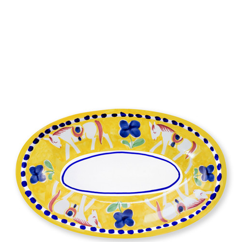 """Vietri Campagna Cavallo Small Oval Tray  CVA-1040 10""""L, 6.5""""W  Part of Vietri's premiere dinnerware line from the famed Amalfi Coast, Cavallo from plumpuddingkitchen.com offers endless possibilities for artistic entertaining when mixed with bright solids or the other colorful patterns of Campagna. Capture the vitality of the Italian countryside with this whimsical collection!  Translation: horse Handmade of terra cotta in Campania by Solimene Part of the Campagna Collection, VIETRI's very first dinnerware collection introduced in 1983! Dishwasher and microwave safe"""