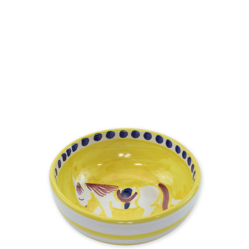 "Vietri Campagna Cavallo Olive Oil Bowl  CVA-1007 4""D  Part of Vietri's premiere dinnerware line from the famed Amalfi Coast, Cavallo from plumpuddingkitchen.com offers endless possibilities for artistic entertaining when mixed with bright solids or the other colorful patterns of Campagna. Capture the vitality of the Italian countryside with this whimsical collection!  Translation: horse Handmade of terra cotta in Campania by Solimene Part of the Campagna Collection, VIETRI's very first dinnerware collection introduced in 1983! Dishwasher and microwave safe"