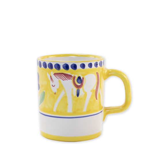 """Vietri Campagna Cavallo Mug  CVA-1010 3.5""""H, 12oz  Part of Vietri's premiere dinnerware line from the famed Amalfi Coast, Cavallo from plumpuddingkitchen.com offers endless possibilities for artistic entertaining when mixed with bright solids or the other colorful patterns of Campagna. Capture the vitality of the Italian countryside with this whimsical collection!  Translation: horse Handmade of terra cotta in Campania by Solimene Part of the Campagna Collection, VIETRI's very first dinnerware collection introduced in 1983! Dishwasher and microwave safe"""