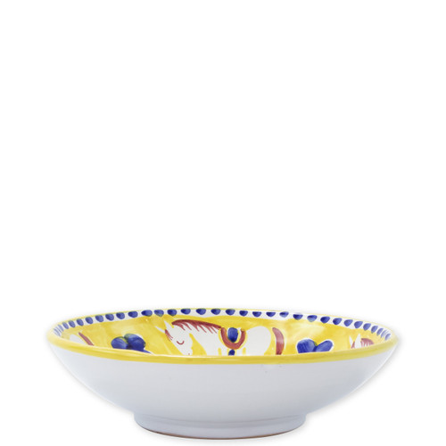 """Vietri Campagna Cavallo Coupe Pasta Bowl  CVA-1003 8.75""""D  Part of Vietri's premiere dinnerware line from the famed Amalfi Coast, Cavallo from plumpuddingkitchen.com offers endless possibilities for artistic entertaining when mixed with bright solids or the other colorful patterns of Campagna. Capture the vitality of the Italian countryside with this whimsical collection!  Translation: horse Handmade of terra cotta in Campania by Solimene Part of the Campagna Collection, VIETRI's very first dinnerware collection introduced in 1983! Dishwasher and microwave safe"""