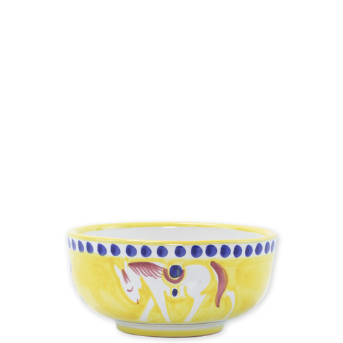 """Vietri Campagna Cavallo Cereal Bowl  CVA-1005 5""""D  Part of Vietri's premiere dinnerware line from the famed Amalfi Coast, Cavallo from plumpuddingkitchen.com offers endless possibilities for artistic entertaining when mixed with bright solids or the other colorful patterns of Campagna. Capture the vitality of the Italian countryside with this whimsical collection!  Translation: horse Handmade of terra cotta in Campania by Solimene Part of the Campagna Collection, VIETRI's very first dinnerware collection introduced in 1983! Dishwasher and microwave safe"""