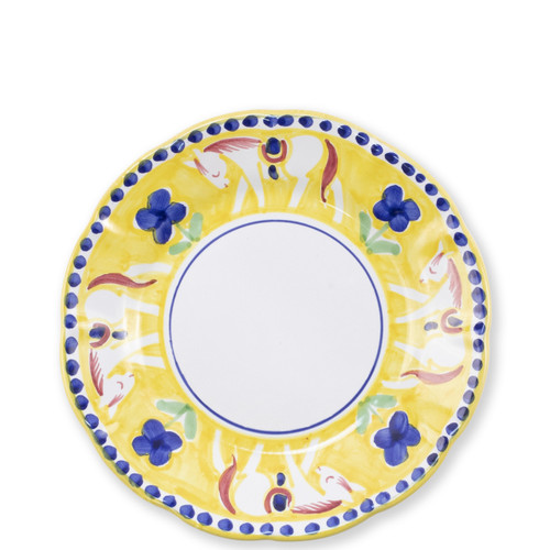 "Vietri Campagna Cavallo Salad Plate  CVA-1001 8""D  Part of Vietri's premiere dinnerware line from the famed Amalfi Coast, Cavallo from plumpuddingkitchen.com offers endless possibilities for artistic entertaining when mixed with bright solids or the other colorful patterns of Campagna. Capture the vitality of the Italian countryside with this whimsical collection!  Translation: horse Handmade of terra cotta in Campania by Solimene Part of the Campagna Collection, VIETRI's very first dinnerware collection introduced in 1983! Dishwasher and microwave safe"
