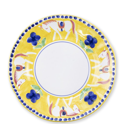 "Vietri Campagna Cavallo Dinner Plate  CVA-1000 10""D  Part of Vietri's premiere dinnerware line from the famed Amalfi Coast, Cavallo from plumpuddingkitchen.com offers endless possibilities for artistic entertaining when mixed with bright solids or the other colorful patterns of Campagna. Capture the vitality of the Italian countryside with this whimsical collection!  Translation: horse Handmade of terra cotta in Campania by Solimene Part of the Campagna Collection, VIETRI's very first dinnerware collection introduced in 1983! Dishwasher and microwave safe"