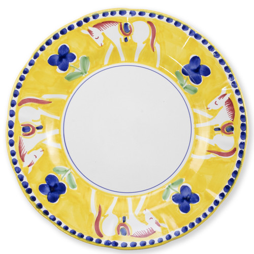 "Vietri Campagna Cavallo Servicew Plate/Charger  CVA-1020 12""D  Part of Vietri's premiere dinnerware line from the famed Amalfi Coast, Cavallo from plumpuddingkitchen.com offers endless possibilities for artistic entertaining when mixed with bright solids or the other colorful patterns of Campagna. Capture the vitality of the Italian countryside with this whimsical collection!  Translation: horse Handmade of terra cotta in Campania by Solimene Part of the Campagna Collection, VIETRI's very first dinnerware collection introduced in 1983! Dishwasher and microwave safe"