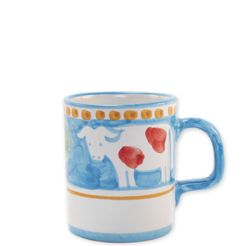 "Vietri Campagna Mucca Mug  MCA-1010 3.5""H, 12oz  Part of Vietri's premiere dinnerware line from the famed Amalfi Coast, Mucca from plumpuddingkitchen.com offers endless possibilities for artistic entertaining when mixed with bright solids or the other colorful patterns of Campagna. Capture the vitality of the Italian countryside with this whimsical collection!  Translation: cow Handmade of terra cotta in Campania by Solimene Part of the Campagna Collection, VIETRI's very first dinnerware collection introduced in 1983! Dishwasher and microwave safe"