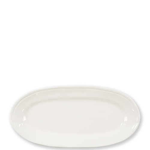 """Vietri Viva Fresh Linen Narrow Oval Platter  VFRS-2629L 16.25""""L, 8""""W  Functional and versatile, the Fresh Linen Narrow Oval Platter from plumpuddingkitchen.com is a guaranteed favorite for everyday dining. Enjoy anything but ordinary style when you serve a homemade meal or even takeout on this simple and clean dish."""