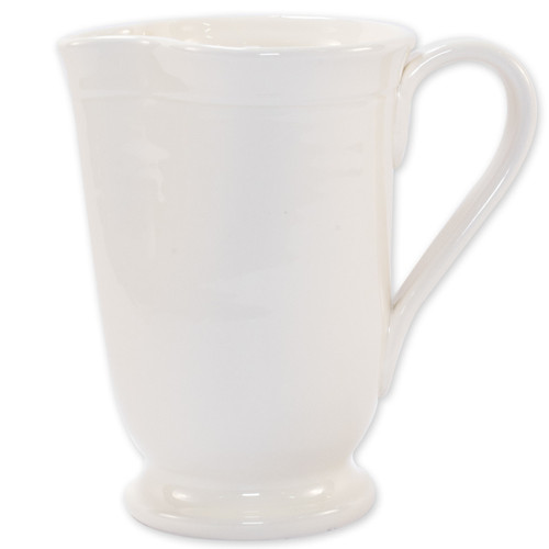 Vietri Viva Fresh Linen Large Footed Pitcher   VFRS-2616L 8.25'H, 5 cups  Casual entertaining gets an update with the Fresh Large Footed Pitcher. A stylish piece for fresh lemonade or summer sangria, this handmade vessel easily pairs with your favorite family heirlooms while encouraging you to live simply and celebrate often. In style, of course.