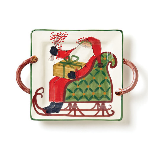 """Delight in artisan Alessandro Taddei's handpainted design of Babbo Natale with the Old St. Nick Square Handled Platter. Perfect for serving late night peppermint cocoa with an assortment of cookies. 17.5""""L, 14""""W OSN-78015"""