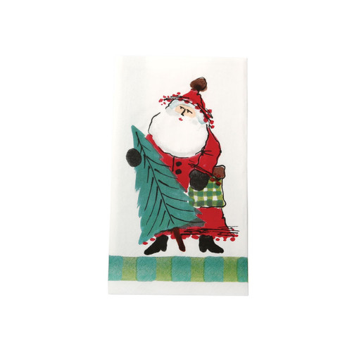 """Delight in maestro Alessandro Taddei's childhood memories of Babbo Natale with the green Old St. Nick Guest Towel. Pair with a festive bow for the ultimate hostess gift this holiday season. Sold in packs of 16 paper towels. 15.75""""L, 13""""W OSN-1806B"""