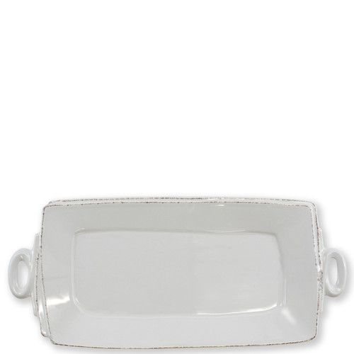 """Vietri Lastra Light Gray Handled Rectangular Platter  16""""L, 8.75""""W LAS-2623LG  The Lastra Light Gray Handled Rectangular Platter from plumpuddingkitchen.com brings rustic elegance to your home. An overlapping wooden mold, used for centuries to form cheeses throughout Italy, inspired this collection."""