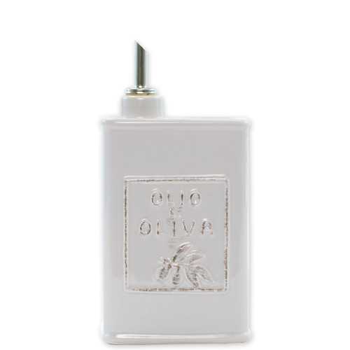 """Vietri Lastra Light Gray Olive Oil Can  LAS-26943 8.75""""H, 24oz   The Lastra Light Gray Olive Oil Can from plumpuddingkitchen.com brings rustic elegance to your home. An overlapping wooden mold, used for centuries to form cheeses throughout Italy, inspired this collection."""