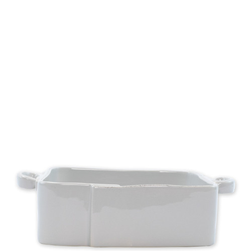 """Vietri Lastra Light Gray Square Baker  LAS-2657LG 11.5""""L, 8.5""""W, 3""""H   The Lastra Light Gray Square Baker from plumpuddingkitchen.com brings rustic elegance to your home. An overlapping wooden mold, used for centuries to form cheeses throughout Italy, inspired this collection."""