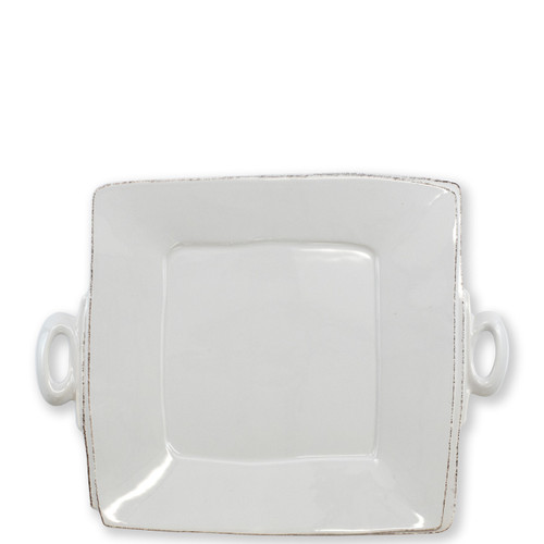 """Vietri Lastra Light Gray Handled Square Platter  LAS-2628LG 13"""" Sq   The Lastra Light Gray Handled Square Platter from plumpuddingkitchen.com brings rustic elegance to your home. An overlapping wooden mold, used for centuries to form cheeses throughout Italy, inspired this collection."""