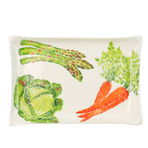 """Vietri Spring Vegetables Rectangular Platter  SVG-9729 16.5""""L, 11""""W, 1.75""""H  SPRING VEGETABLES Handpainted by maestro artisan, Gianluca Fabbro, using a unique sponging technique, an adorable hare and fresh vegetables depict a vibrant picture of spring.  A colorful mix of spring garden classics from plumpuddingkitchen.com come to life in an assortment of eating pieces and serving accessories in this beautiful collection.  Handpainted on terra bianca in Veneto. Dishwasher and microwave safe."""