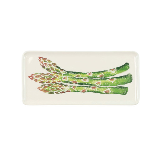 "Vietri Spring Vegetables Small Rectangular Platter  SVG-9728 11.75""L, 5.5""W  SPRING VEGETABLES Handpainted by maestro artisan, Gianluca Fabbro, using a unique sponging technique, an adorable hare and fresh vegetables depict a vibrant picture of spring.  A colorful mix of spring garden classics from plumpuddingkitchen.com come to life in an assortment of eating pieces and serving accessories in this beautiful collection.  Handpainted on terra bianca in Veneto. Dishwasher and microwave safe."