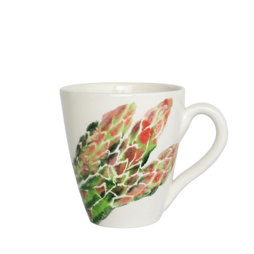 """Vietri Spring Vegetables Asparagus Mug  SVG-9710A 4.25""""H, 14oz  SPRING VEGETABLES Handpainted by maestro artisan, Gianluca Fabbro, using a unique sponging technique, an adorable hare and fresh vegetables depict a vibrant picture of spring.  A colorful mix of spring garden classics from plumpuddingkitchen.com come to life in an assortment of eating pieces and serving accessories in this beautiful collection.  Handpainted on terra bianca in Veneto. Dishwasher and microwave safe."""