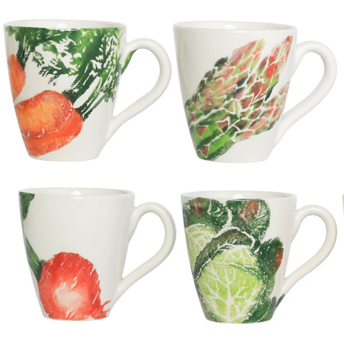 """Vietri Spring Vegetables Mugs Assorted Set/4  SVG-9710 4.25""""H, 14oz  SPRING VEGETABLES Handpainted by maestro artisan, Gianluca Fabbro, using a unique sponging technique, an adorable hare and fresh vegetables depict a vibrant picture of spring.  A colorful mix of spring garden classics from plumpuddingkitchen.com come to life in an assortment of eating pieces and serving accessories in this beautiful collection.  Handpainted on terra bianca in Veneto. Dishwasher and microwave safe."""