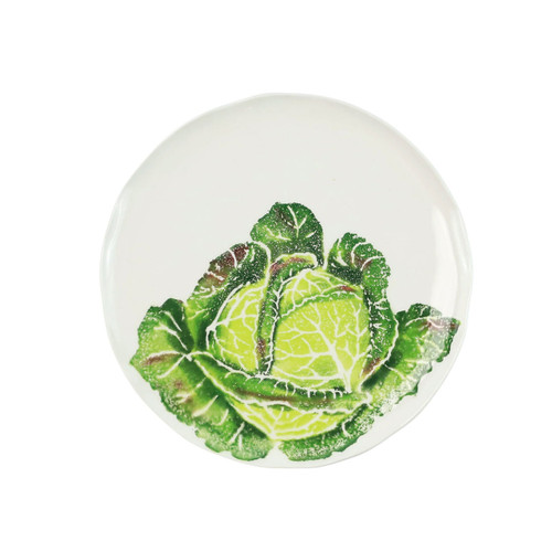 """Vietri Spring Vegetables Cabbage Salad Plate SVG-9701CB 9""""D  SPRING VEGETABLES Handpainted by maestro artisan, Gianluca Fabbro, using a unique sponging technique, an adorable hare and fresh vegetables depict a vibrant picture of spring.  A colorful mix of spring garden classics from plumpuddingkitchen.com come to life in an assortment of eating pieces and serving accessories in this beautiful collection.  Handpainted on terra bianca in Veneto. Dishwasher and microwave safe."""
