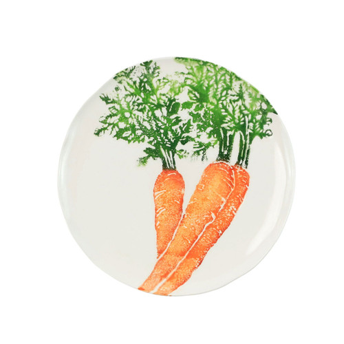 "Vietri Spring Vegetables Carrot Salad Plate  SVG-9701CR 9""D  SPRING VEGETABLES Handpainted by maestro artisan, Gianluca Fabbro, using a unique sponging technique, an adorable hare and fresh vegetables depict a vibrant picture of spring.  A colorful mix of spring garden classics from plumpuddingkitchen.com come to life in an assortment of eating pieces and serving accessories in this beautiful collection.  Handpainted on terra bianca in Veneto. Dishwasher and microwave safe."