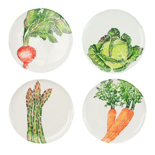 """Vietri Spring Vegetables Assorted Salad Plates Set/4  SVG-9701 9""""D  SPRING VEGETABLES Handpainted by maestro artisan, Gianluca Fabbro, using a unique sponging technique, an adorable hare and fresh vegetables depict a vibrant picture of spring.  A colorful mix of spring garden classics from plumpuddingkitchen.com come to life in an assortment of eating pieces and serving accessories in this beautiful collection.  Handpainted on terra bianca in Veneto. Dishwasher and microwave safe."""