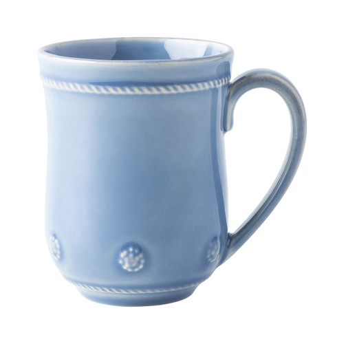 """Berry & Thread Chambray Mug  JA06/47  From Juliska's Berry & Thread Collection from plumpuddingkitchen.com - Rimmed with a simple thread and adorned with a sprinkling of berries, this iconic dinnerware collection embraces historic motifs in a sublime blue hue. Add a splash of elegance to your daily routine with this charming mug that is perfectly sized.  Measurements: 4.75""""L, 3.5""""W, 4.5""""H Capacity: 12 ounces Made of Ceramic Stoneware Made in Portugal"""