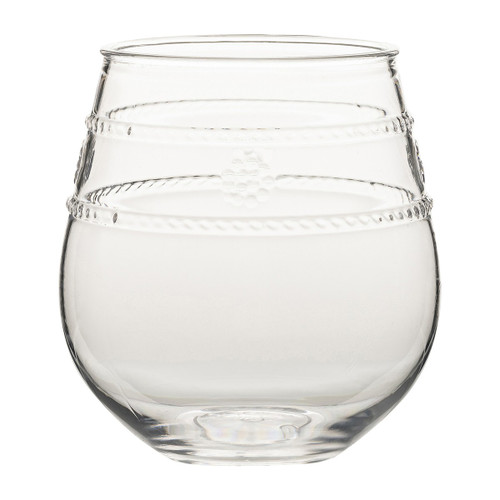 """Isabella Acrylic Stemless Wine Glass  MA306/01  From Juliska's Al Fresco Collection from plumpuddingkitchen.com - Our iconic bohemian glass Isabella motif, translated in acrylic for the adventurous entertainer. This multi-purpose stemless wine glass is ideal for taking your favorite vintage outdoors,  Measurements: 3.5""""L, 3.5""""W, 4""""H Capacity: 12 oz Made of Acrylic, BPA free Imported"""