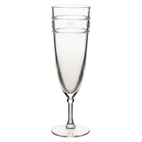 "Isabella Acrylic Champagne Flute  MA307/01  From Juliska's Al Fresco Collection from plumpuddingkitchen.com  - Juliska's iconic bohemian Isabella motif translated in acrylic for the adventurous entertainer. This flute will take you from mimosas at a tailgate to a champagne toast on the beach!  Measurements: 2.5""L, 2.5""W, 8.25""H Capacity: 8 oz Made of Acrylic, BPA free Imported"