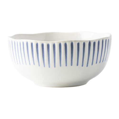 """Sitio Stripe Indigo Cereal/Ice Cream Bowl  KW07/046  From Juliska's Wanderlust Collection from plumpuddingkitchen.com - Equally stunning and simplistic, radiant stripes in breezy shades of blue adorn this dinnerware collection. This cereal/ice cream bowl is a go-to size and perfect for any soup, salad or dessert you can imagine.  Measurements: 5.75""""L, 5.75""""W, 2.75""""H Capacity: 16 oz Made of Ceramic Stoneware Made in Portugal"""