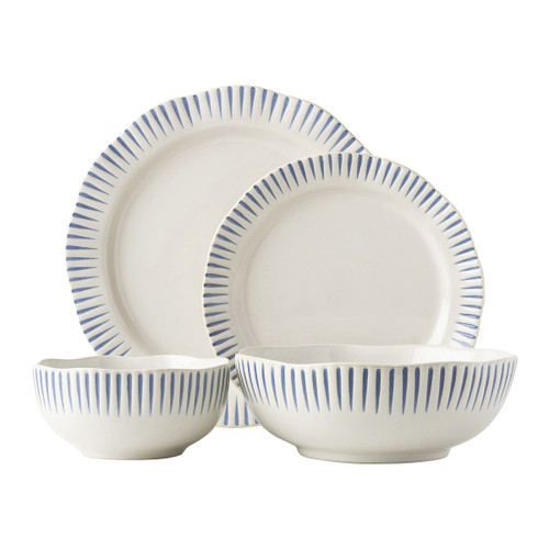 """Sitio Stripe Indigo 4pc Setting  KW40/046  From Juliska's Wanderlust Collection from plumpuddingkitchen.com - Equally stunning and simplistic, radiant stripes in breezy shades of blue adorn this dinnerware collection. This set includes a dinner plate, dessert/salad plate, cereal/ice cream bowl and a couple pasta bowl.  Measurements Dinner Plate: 11"""" W Dessert/Salad Plate: 9"""" W Cereal/Ice Cream Bowl: 5.75""""L, 5.75""""W, 2.75""""H (16 oz) Coupe Pasta Bowl: 8.25""""L, 8.25""""W, 3""""H (1 Qt) Made of Ceramic Stoneware Made in Portugal"""