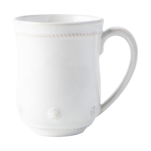 Juliska Berry & Thread Whitewash Mug  JA06/W  From Juliska's Berry & Thread Collection from plumpuddingkitchen.com - Rimmed with a simple thread and adorned with a sprinkling of berries, this iconic dinnerware collection embraces the historic motifs of our Bohemian glassware. This mug, perfect for your favorite cozy cup-of, features subtly sweet detailing.