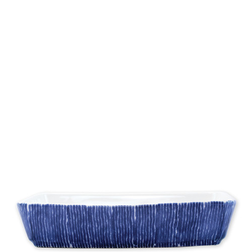 """Vietri Santorini Stripe Rectangular Baker  VSAN-003060  13.75""""L, 9.25""""W, 3""""H  Liven up your everyday dinner parties with the playful designs of Vietri's Santorini from plumpuddingkitchen.com, inspired by a well-traveled lifestyle.   Assorted blue and white patterns make entertaining fun by recreating the beautiful mosaic tiles found in the Greek Isles.   Handmade of hard ceramic.  Dishwasher and microwave safe.  Oven safe."""