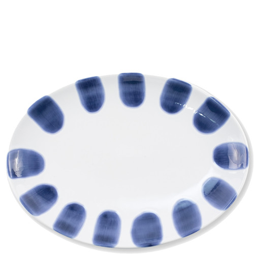"Vietri Santorini Dot Small Oval Platter  VSAN-003024  14""L, 10""W  Liven up your everyday dinner parties with the playful designs of Vietri's Santorini from plumpuddingkitchen.com, inspired by a well-traveled lifestyle.   Assorted blue and white patterns make entertaining fun by recreating the beautiful mosaic tiles found in the Greek Isles.   Handmade of hard ceramic.  Dishwasher and microwave safe."