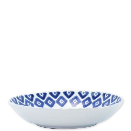 "Vietri Santorini Diamond Medium Serving Bowl  VSAN-003031  12""D, 2.5""H  Liven up your everyday dinner parties with the playful designs of Vietri's Santorini from plumpuddingkitchen.com, inspired by a well-traveled lifestyle.   Assorted blue and white patterns make entertaining fun by recreating the beautiful mosaic tiles found in the Greek Isles.   Handmade of hard ceramic.  Dishwasher and microwave safe."