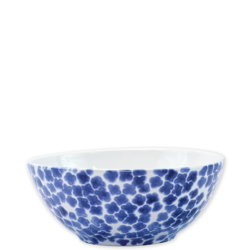 "Vietri Santorini Flower Small Serving Bowl  VSAN-003075  8.75""D, 3.75""H  Liven up your everyday dinner parties with the playful designs of Vietri's Santorini from plumpuddingkitchen.com, inspired by a well-traveled lifestyle.   Assorted blue and white patterns make entertaining fun by recreating the beautiful mosaic tiles found in the Greek Isles.   Handmade of hard ceramic.  Dishwasher and microwave safe."