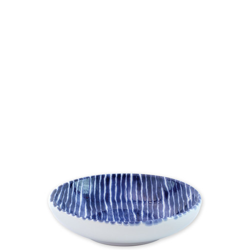 "Vietri Santorini Stripe Condiment Bowl  VSAN-003003D  5.75""D  Liven up your everyday dinner parties with the playful designs of Vietri's Santorini from plumpuddingkitchen.com, inspired by a well-traveled lifestyle.   Assorted blue and white patterns make entertaining fun by recreating the beautiful mosaic tiles found in the Greek Isles.   Handmade of hard ceramic.  Dishwasher and microwave safe."