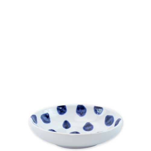 "Vietri Santorini Dot Condiment Bowl  VSAN-003003B  5.75""D  Liven up your everyday dinner parties with the playful designs of Vietri's Santorini from plumpuddingkitchen.com, inspired by a well-traveled lifestyle.   Assorted blue and white patterns make entertaining fun by recreating the beautiful mosaic tiles found in the Greek Isles.   Handmade of hard ceramic.  Dishwasher and microwave safe."