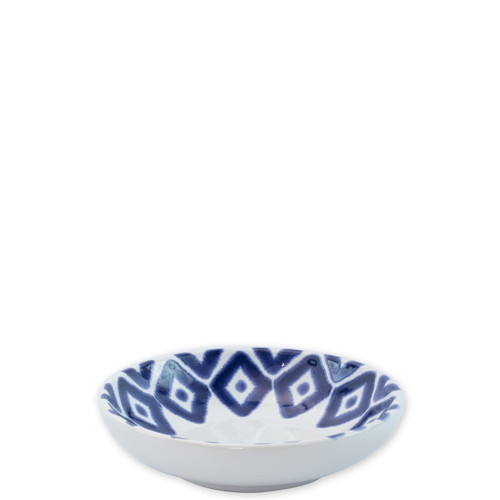 """Vietri Santorini Diamond Condiment Bowl  VSAN-003003A  5.75""""D  Liven up your everyday dinner parties with the playful designs of Vietri's Santorini from plumpuddingkitchen.com, inspired by a well-traveled lifestyle.   Assorted blue and white patterns make entertaining fun by recreating the beautiful mosaic tiles found in the Greek Isles.   Handmade of hard ceramic.  Dishwasher and microwave safe."""