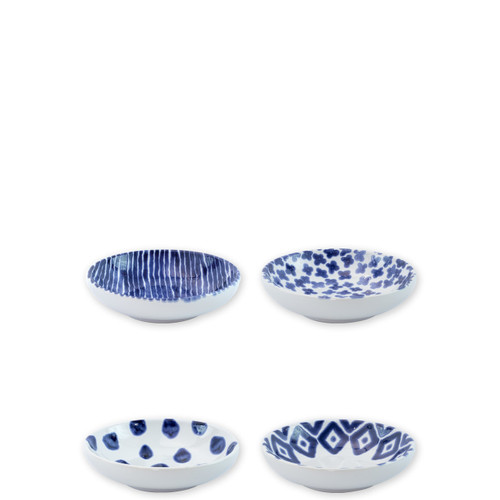 """Vietri Santorini Assorted Condiment Bowls Set/4  VSAN-003003  5.75""""D  Liven up your everyday dinner parties with the playful designs of Vietri's Santorini from plumpuddingkitchen.com, inspired by a well-traveled lifestyle.   Assorted blue and white patterns make entertaining fun by recreating the beautiful mosaic tiles found in the Greek Isles.   Handmade of hard ceramic.  Dishwasher and microwave safe."""
