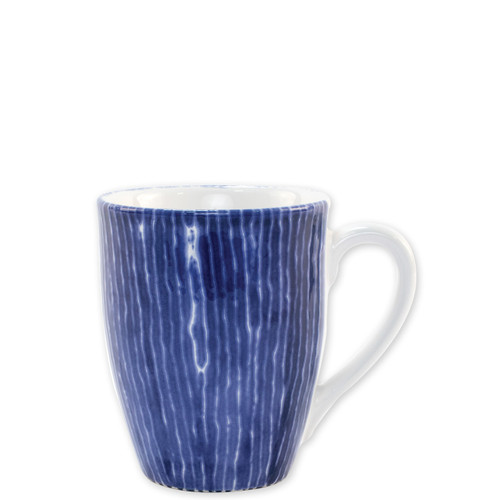 """Vietri Santorini Stripe Mug  VSAN-003010D  4.5""""H, 14oz  Liven up your everyday dinner parties with the playful designs of Vietri's Santorini from plumpuddingkitchen.com, inspired by a well-traveled lifestyle.   Assorted blue and white patterns make entertaining fun by recreating the beautiful mosaic tiles found in the Greek Isles.   Handmade of hard ceramic.  Dishwasher and microwave safe."""