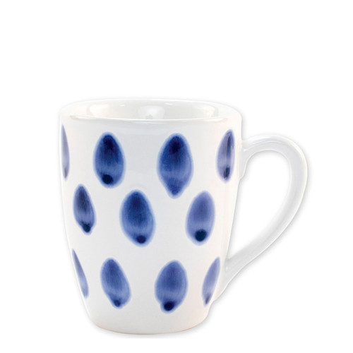"Vietri Santorini Dot Mug  VSAN-003010B  4.5""H, 14oz  Liven up your everyday dinner parties with the playful designs of Vietri's Santorini from plumpuddingkitchen.com, inspired by a well-traveled lifestyle.   Assorted blue and white patterns make entertaining fun by recreating the beautiful mosaic tiles found in the Greek Isles.   Handmade of hard ceramic.  Dishwasher and microwave safe."