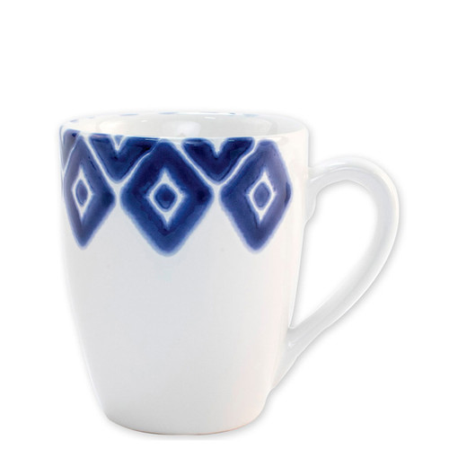 "Vietri Santorini Diamond Mug  VSAN-003010A  4.5""H, 14oz  Liven up your everyday dinner parties with the playful designs of Vietri's Santorini from plumpuddingkitchen.com, inspired by a well-traveled lifestyle.   Assorted blue and white patterns make entertaining fun by recreating the beautiful mosaic tiles found in the Greek Isles.   Handmade of hard ceramic.  Dishwasher and microwave safe."