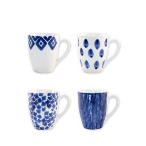"Vietri Santorini Assorted Mug Set/4  VSAN-003010  4.5""H, 14oz  Liven up your everyday dinner parties with the playful designs of Vietri's Santorini from plumpuddingkitchen.com, inspired by a well-traveled lifestyle.   Assorted blue and white patterns make entertaining fun by recreating the beautiful mosaic tiles found in the Greek Isles.   Handmade of hard ceramic.  Dishwasher and microwave safe."