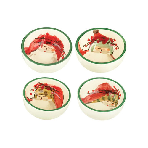 """The Vietri Old St. Nick Assorted Condiment Bowls features handpainted designs by maestro artisan Alessandro Taddei. (sold in sets of 4)   4""""D OSN-7803"""