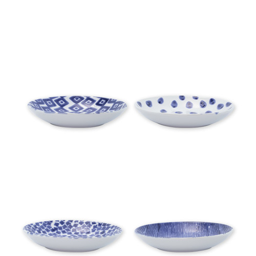 "Vietri Santorini Assorted Pasta Bowls Set/4  VSAN-003004  9.5""D, 1.75""H  Liven up your everyday dinner parties with the playful designs of Vietri's Santorini from plumpuddingkitchen.com, inspired by a well-traveled lifestyle.   Assorted blue and white patterns make entertaining fun by recreating the beautiful mosaic tiles found in the Greek Isles.   Handmade of hard ceramic.  Dishwasher and microwave safe."