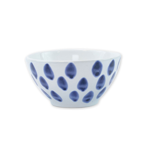 """Vietri Santorini Dot Cereal Bowl  VSAN-003005B  6""""D, 3.5""""H  Liven up your everyday dinner parties with the playful designs of Vietri's Santorini from plumpuddingkitchen.com, inspired by a well-traveled lifestyle.   Assorted blue and white patterns make entertaining fun by recreating the beautiful mosaic tiles found in the Greek Isles.   Handmade of hard ceramic.  Dishwasher and microwave safe."""