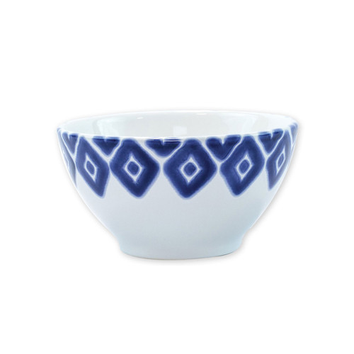 "Vietri Santorini Diamond Cereal Bowl  VSAN-003005A  6""D, 3.5""H  Liven up your everyday dinner parties with the playful designs of Vietri's Santorini from plumpuddingkitchen.com, inspired by a well-traveled lifestyle.   Assorted blue and white patterns make entertaining fun by recreating the beautiful mosaic tiles found in the Greek Isles.   Handmade of hard ceramic.  Dishwasher and microwave safe."